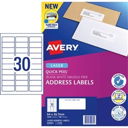 Avery Quick Peel Address Laser Labels L7158 White 30 Per Sheet 100 Sheets