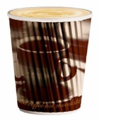 Ripple Hot Paper Cups Coffee Design 360ml, Pack of 40