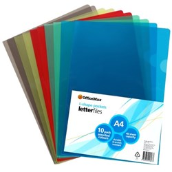 OfficeMax L-Shaped Pockets A4 Assorted Colours, Pack of 10