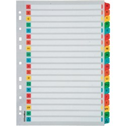 OfficeMax Index Dividers 20 Tab A-Z Reinforced A4 Cardboard Coloured