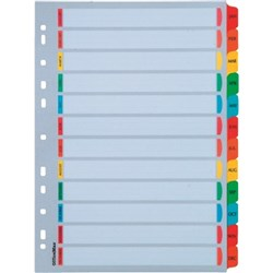 OfficeMax Index Dividers 12 Tab Jan-Dec Reinforced A4 Cardboard Coloured