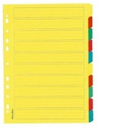 OfficeMax Index Dividers 10 Tab A4 Cardboard Coloured