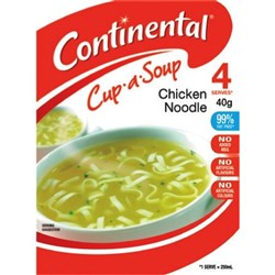 Continental Cup-a-Soup Chicken Noodle 40g, Pack of 4