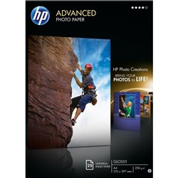 HP 6x4 Inch 230gsm Advanced Glossy Inkjet Card, Pack of 25