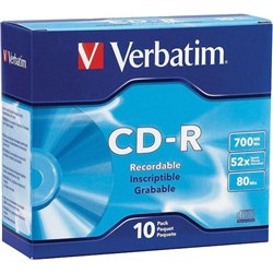 Verbatim CD-R Recordable Media 700MB, Pack of 10