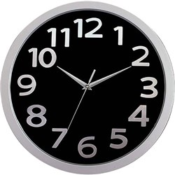 Carven Glass Face Wall Clock 330mm Black/Silver