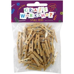 Craft Workshop Pegs Natural Small, Pack of 50