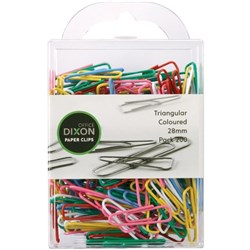 Dixon Paper Clips Triangular 28mm Coloured, Pack of 200