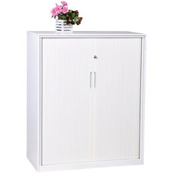 Proceed 4 Tier Tambour Filing Cabinet With PVC Doors White 900mm