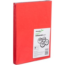 OfficeMax A4 200gsm Raging Red Premium Colour Card, Pack of 100