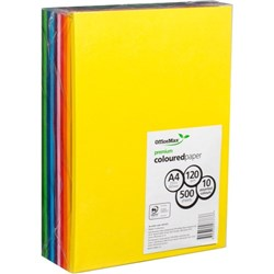 OfficeMax A4 120gsm 10 Assorted Colours Premium Copy Paper, Pack of 500
