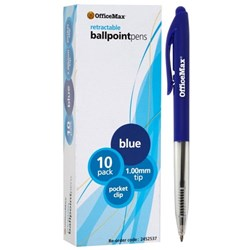 OfficeMax Blue Retractable Ballpoint Pens Medium Tip, Pack of 10