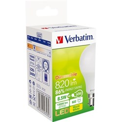 Verbatim E27 Classic A LED Light Bulb 9W Dimmable Screw 3000K Warm White