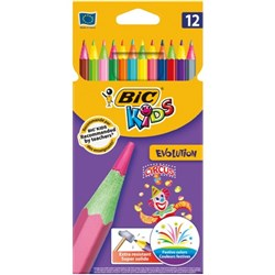 BIC Kids Evolution Circus Colouring Pencil Assorted, Pack of 12