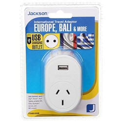 Jackson Outbound Travel Adaptor 10 Converts NZ & AUS Plugs to Europe & Bali