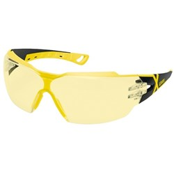 Uvex Pheos CX2 Safety Glasses Amber Lens Black/Yellow