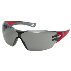 Uvex Pheos CX2 Safety Glasses Grey Lens Red/Grey