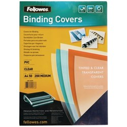 Fellowes Binding Covers 200 Micron A4 Clear, Pack of 50