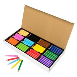 EC Jumbo Stubby Colouring Pencils & Sharpener Washable Assorted Colours, Pack of 120