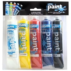 Derivan Student Acrylic Paint 75ml, Pack of 5