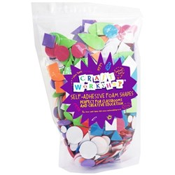 Colorations Self Adhesive Foam Shapes Assorted, Pack of 1000