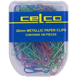 Celco Metallic Coloured Paper Clips 28mm, Pack of 100
