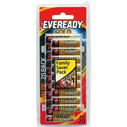 Eveready Gold AA Alkaline Batteries, Pack of 20