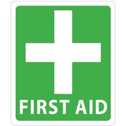First Aid Self-Adhesive Safety Sign 105x125mm
