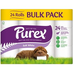 Purex Toilet Tissue Unscented 2 Ply, Bulk Pack of 24