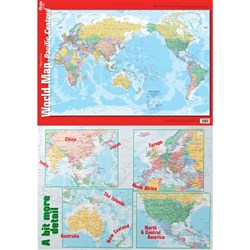 Pacific World Map Double Sided Wall Chart 695x495mm