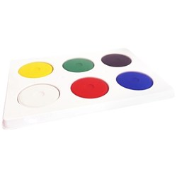 Tempera Paint Disc & Tray Assorted Colours, Set of 6