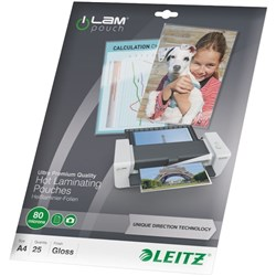 Leitz iLam A4 Laminating Pouches Premium 80 Micron, Pack of 25