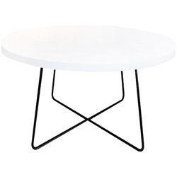 Criss Cross Coffee Table 800mm Black Frame Round Snowdrift Top