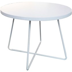 Criss Cross Coffee Table 800mm White Frame Round Snowdrift Top