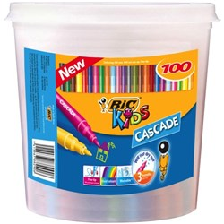 BIC Kids Cascade Felt Tip Markers Assorted Colours, Tub of 100