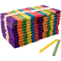 Wooden Pop Sticks Assorted Colours, Pack of 1000
