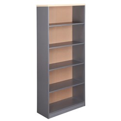 Spartan Bookcase 4 Shelves 1800mm Maple & Silver --Available End January 2019--