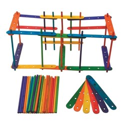 Construction Sticks Assorted Colours, Pack of 70