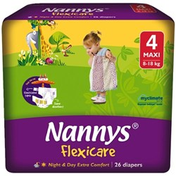 Nannys Flexicare Nappies Disposable Large Maxi 8-18kg, Pack of 26