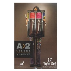 A2 Art Student Acrylic Paint 20ml Assorted Colours, Set of 12