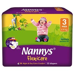 Nannys Flexicare Nappies Disposable Medium 5-9kg, 8 Packs of 32