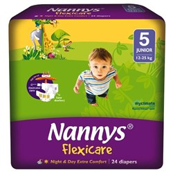 Nannys Flexicare Nappies Disposable Jumbo 12-25kg, 8 Packs of 24