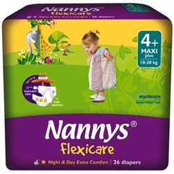 Nannys Flexicare Nappies Disposable Extra Large 10-20kg, 8 Packs of 26