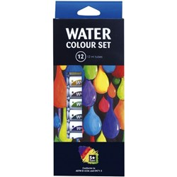 5 Star Water Colour Paint 12ml Assorted Colours, Set of 12