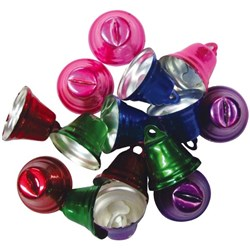 Triangular Bells Assorted Colours 25x25mm, Pack of 15
