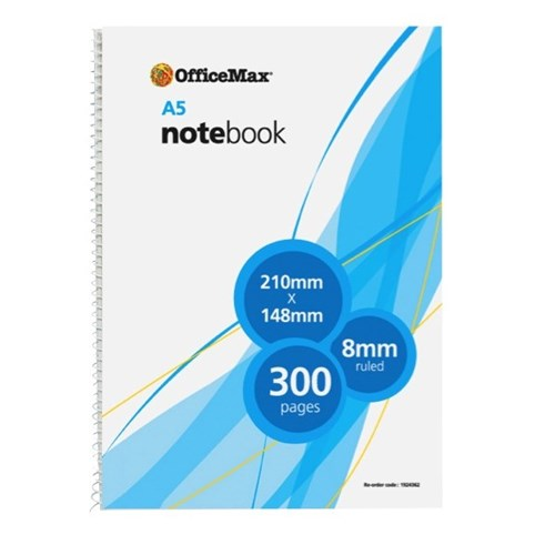OfficeMax A5 Spiral Notebook 300 Pages