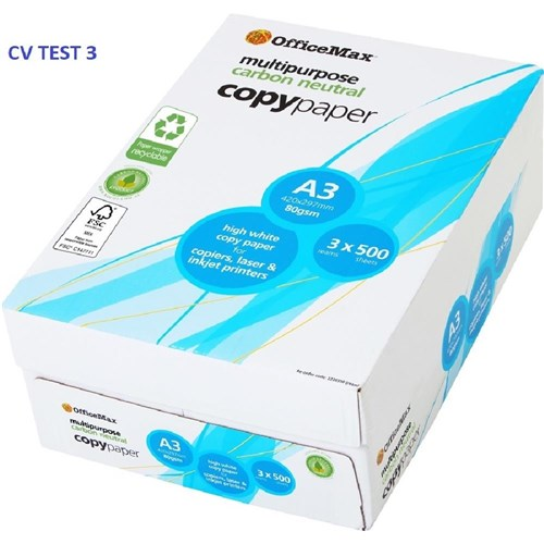 OfficeMax A3 80gsm Carbon Neutral White Copy Paper, 3 Packs of 500